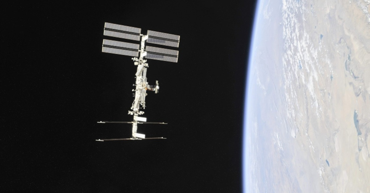 This NASA photo obtained Nov. 4, 2018, shows the International Space Station photographed by Expedition 56 crew members from a Soyuz spacecraft after undocking. (AFP Photo)