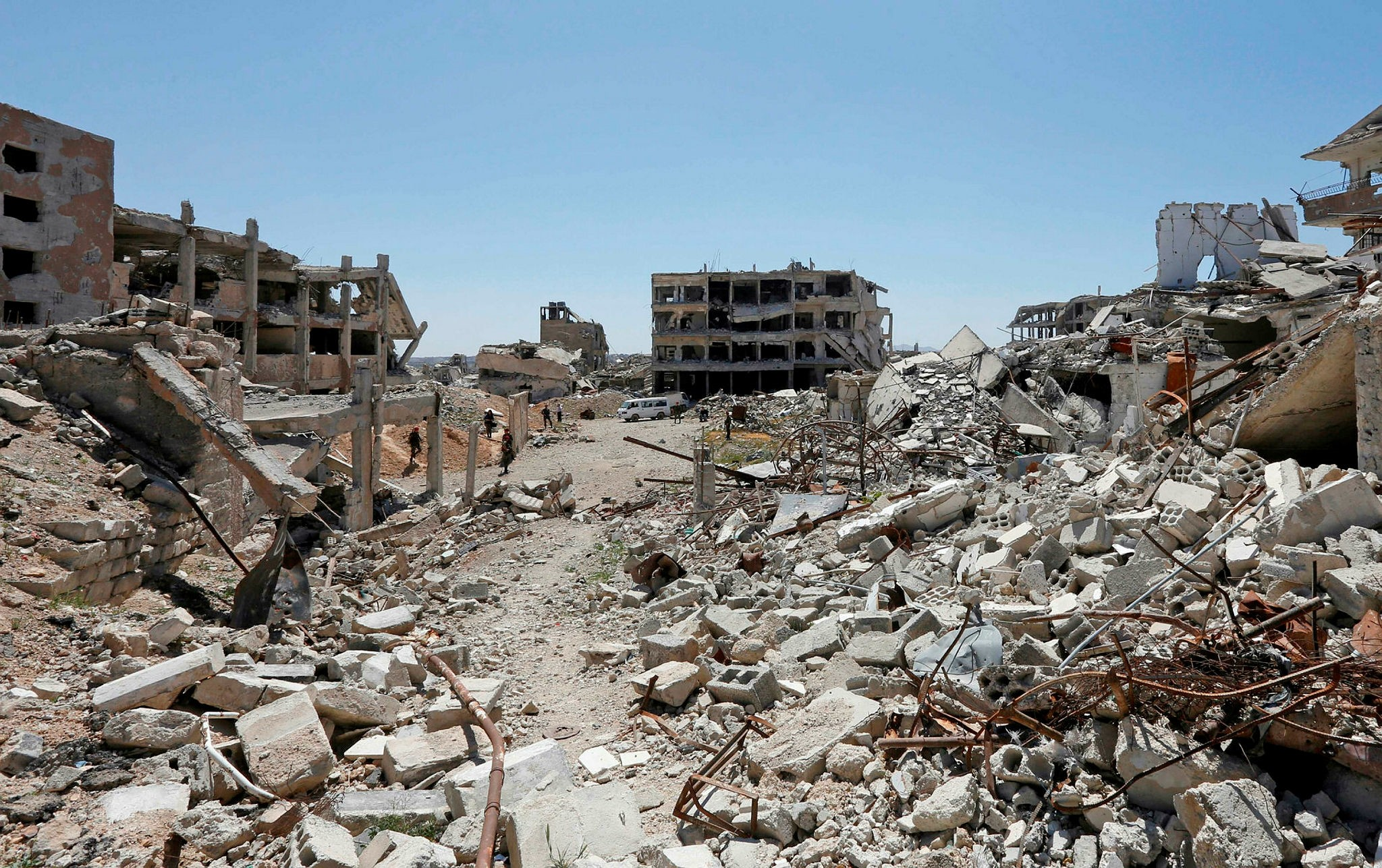 A general view shows the destruction in Jobar in Eastern Ghouta, on the outskirts of the Syrian capital Damascus on April 2, 2018. (AFP Photo)