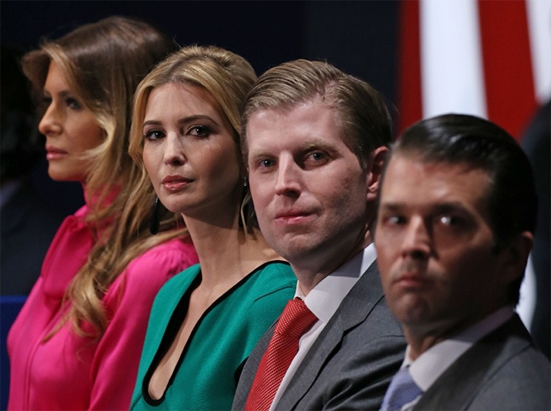 This October 9, 2016 file photo shows family members of then Republican Presidential-elect Donald Trump, (from L-R) wife Melania Trump, daughter Ivanka Trump, and sons Eric Trump and Donald Trump Jr. (AFP Photo)