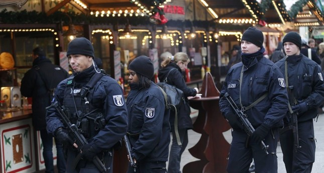 German police patrol Breitscheid square in Berlin, Germany on Dec. 22, 2016, three days after a deadly Daesh attack that killed 12 civilians. German authorities were harshly criticized at the time for their inefficiency in preventing the attack.