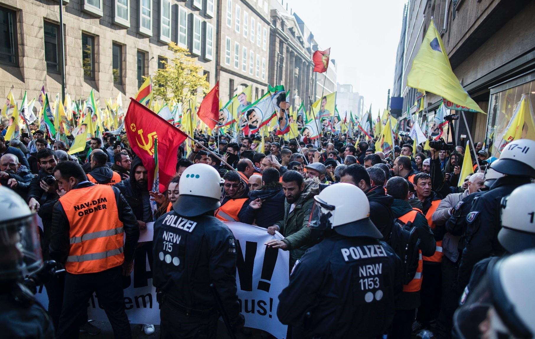 PKK sympathizers hold banners demanding the release of imprisoned PKK leader Abdullah u00d6calan during a protest, Du00fcsseldorf, Germany, Nov. 4.