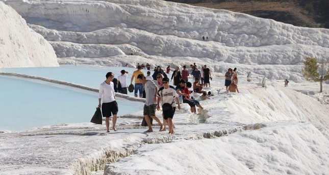 Famous for its healing waters, ancient history and travertines, Pamukkale aims to host 3 million visitors by the end of this year. (AA Photo)