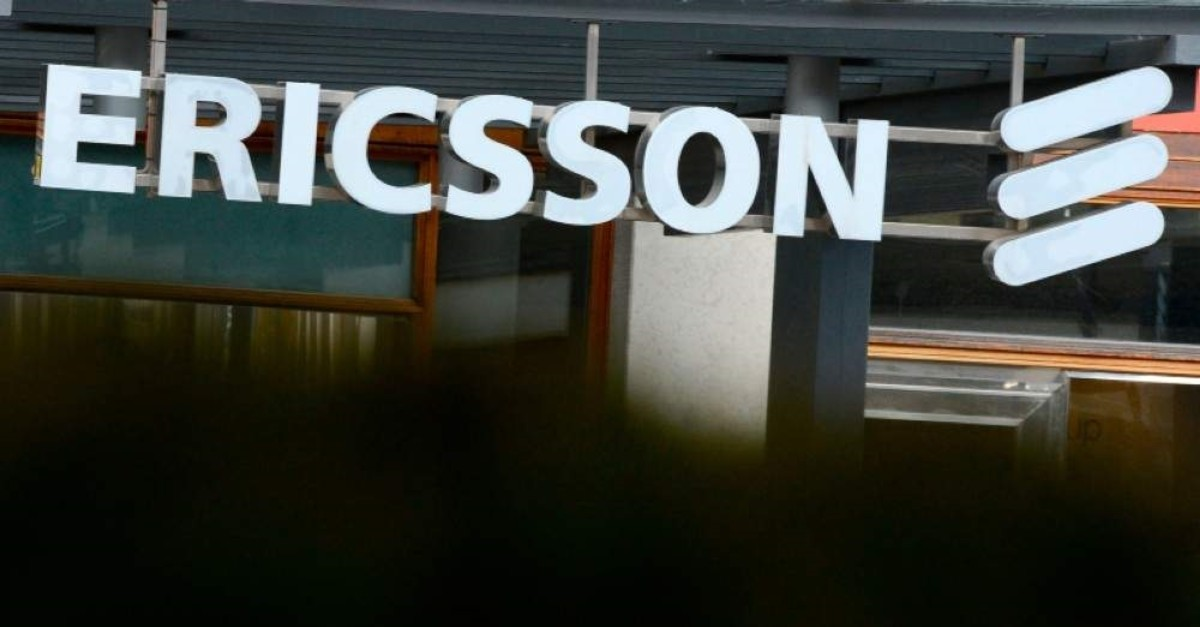Swedish provider of telecommunications equipment and data communication systems giant Ericsson logo at the Ericsson headquarters in Stockholm's suburb of Kista. (AFP Photo)