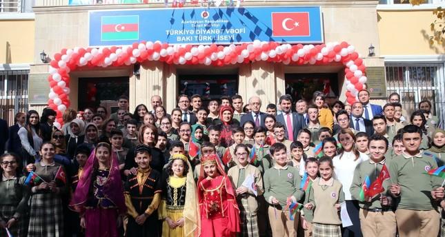 First lady Emine Erdoğan attends an inauguration ceremony of a Turkish-Azeri High School in Baku, Oct. 31, 2017.
