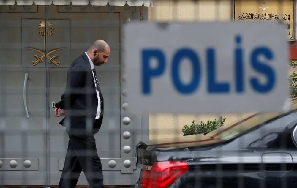 A security guard stands at the entrance of the Saudi Consulate in Istanbul, Oct. 20.