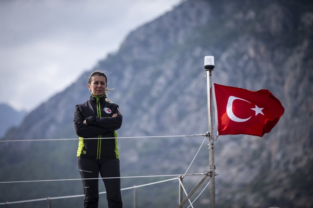 Assoc. Prof. Burcu u00d6zsoy, the leader of the Turkish Antarctic Scientific Expedition, on a boat during the training.
