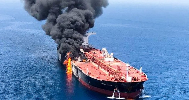 An oil tanker is seen after it was attacked at the Gulf of Oman, June 13, 2019. (Reuters Photo)