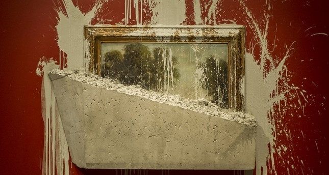 Painting stuck in concrete at Pera Museum