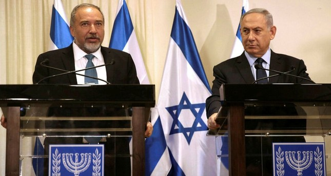 Israeli Defense Minister Avigdor Lieberman and Prime Minister Benjamin Netanyahu at Israeli parliament in Jerusalem.