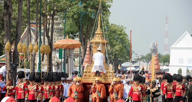 The symbolic urn is transported at the funeral procession and royal cremation ceremony of late Thai King Bhumibol Adulyadej, in Bangkok, Thailand, Thursday, Oct. 26, 2017. (AP Photo)