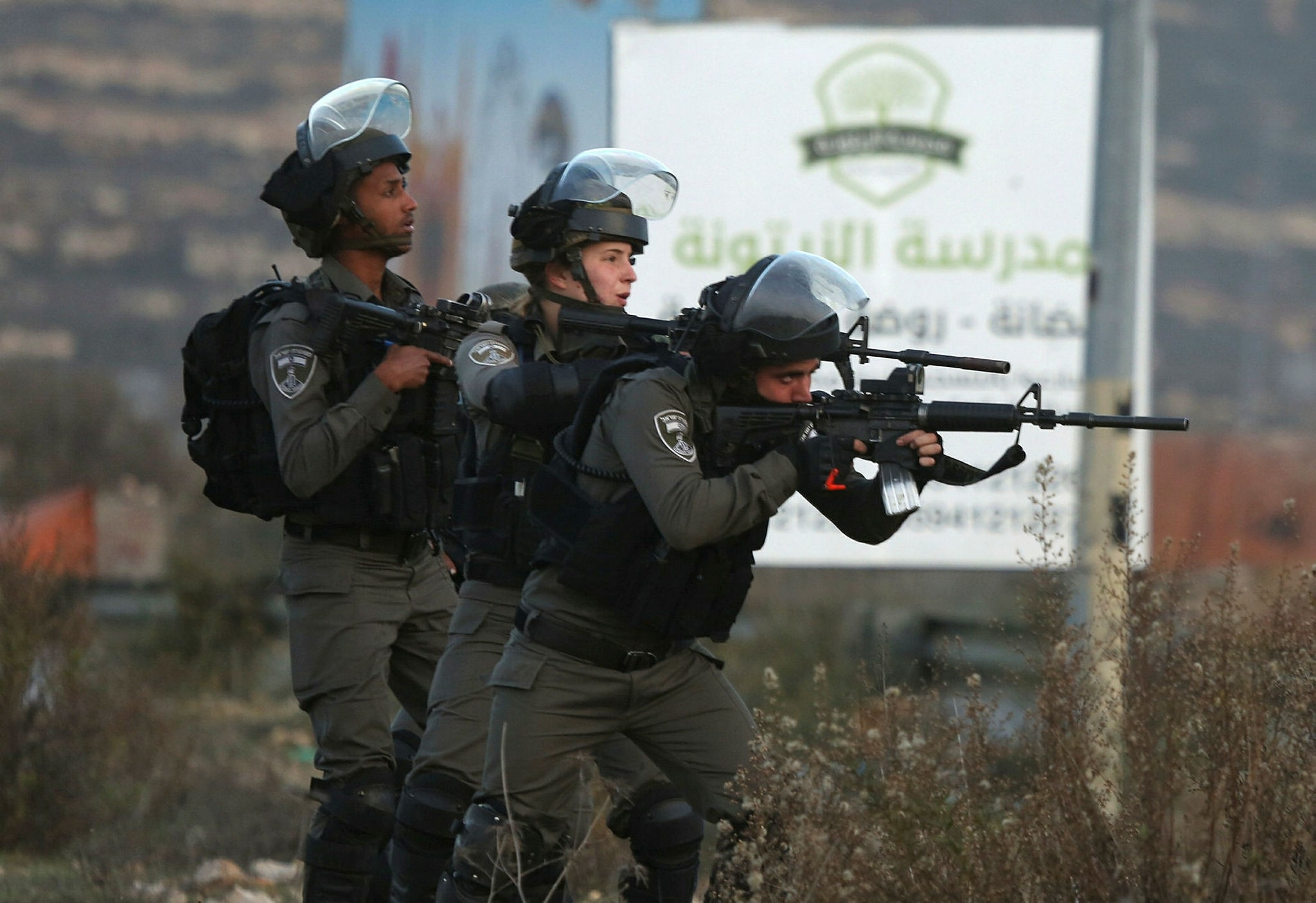 Israeli security forces during protests on December 10, 2017 in illegally occupied West Bank (AA Photo)