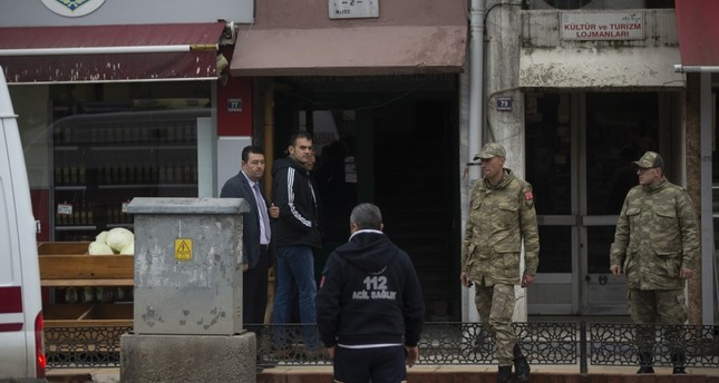 emEdirne Gouverneur Ekrem Canalp extending his condolences to the spouse of one of the killed soldiers. (AA Photo)/em