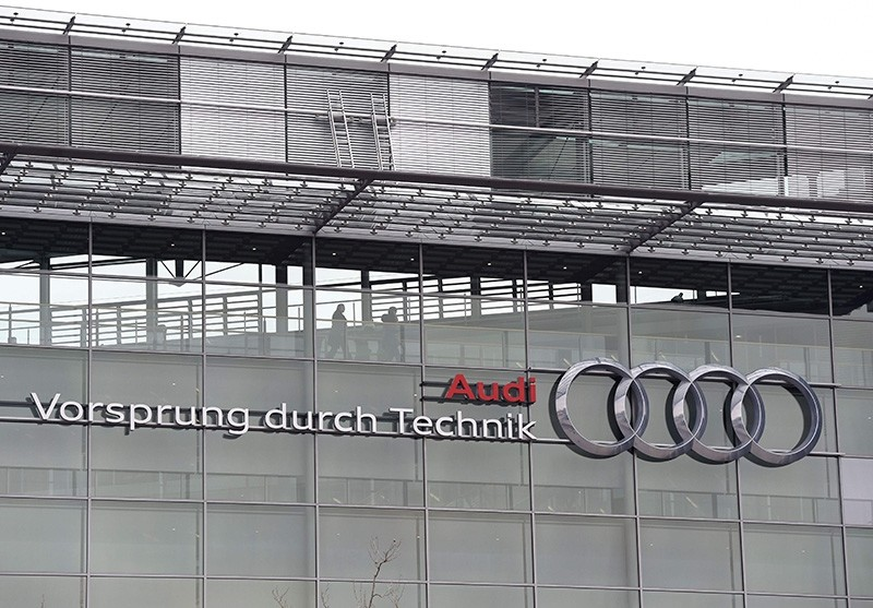 This file photo taken on March 15, 2017 shows the logo of the German car maker Audi AG   pictured at the Audi area in Ingolstadt, southern Germany (AFP Photo)