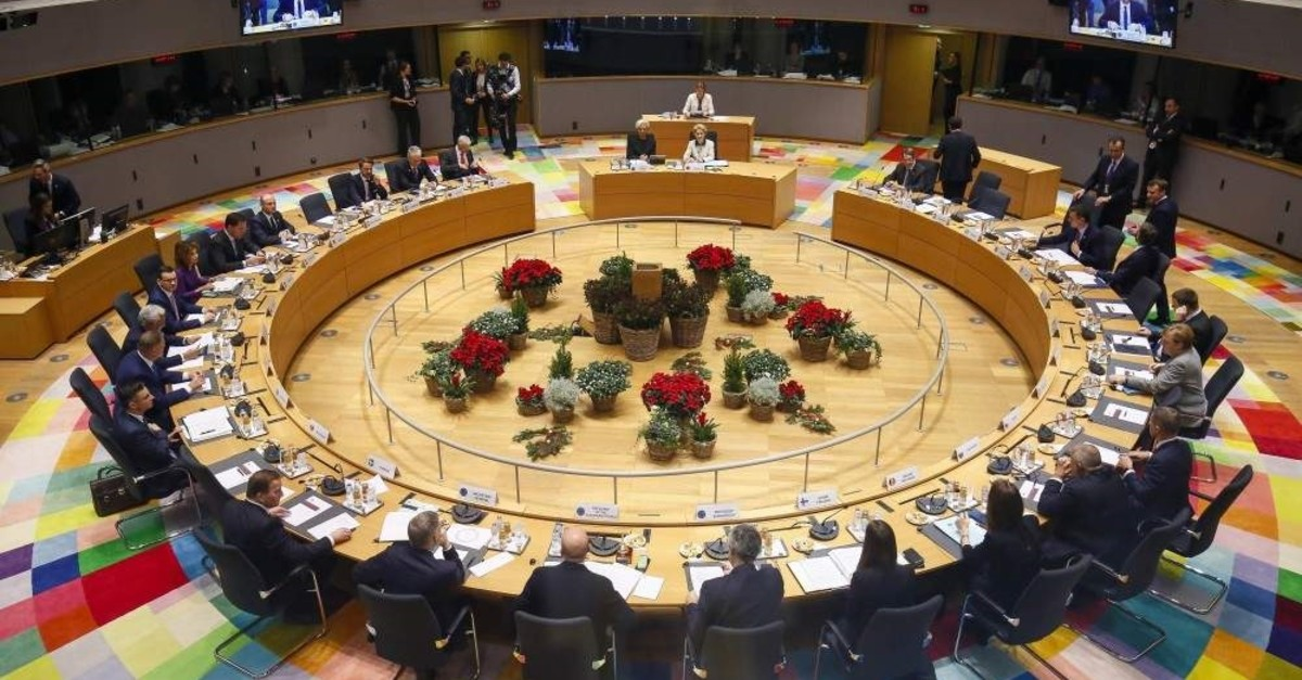 A general view of the round table meeting at an EU summit in Brussels, Dec. 13, 2019. AP