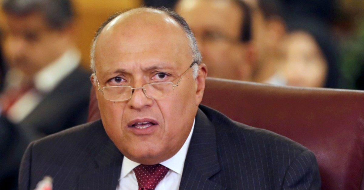 Egyptian Foreign Minister Sameh Shoukry attends the Arab Foreign Ministers' extraordinary meeting to discuss the Syrian crisis in Cairo, Egypt, Oct. 12, 2019. (Reuters Photo)