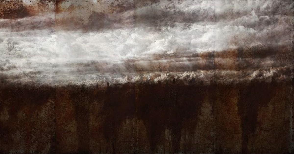 Berkay Buu011fdan, ,Elveda, (,Farewell,), 2018, oil painting on steel, 175 x 360 cm.