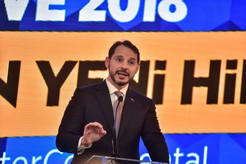 Finance and Treasury Minister Berat Albayrak speaking at the Turkish Investor Relations' Society (Tu00dcYu0130D) summit on Dec. 12, 2018. (DHA Photo)