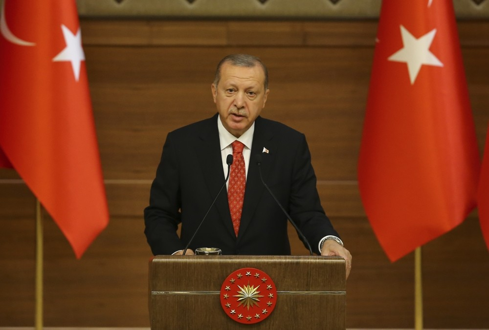 President Recep Tayyip Erdou011fan speaks during a meeting with muftis at the Beu015ftepe Presidential Complex in Ankara, yesterday.