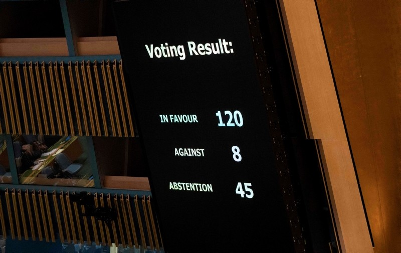 Results are shown of the vote, to condemn Israeli actions in Gaza, in the General Assembly June 13, 2018 in New York. (AFP Photo)