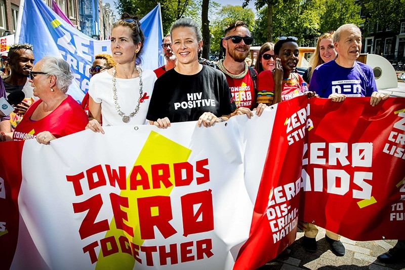 Dutch Princess Mabel (C) joins AIDS activists in a protest march in Amsterdam, Netherlands, July 23, 2018, on occasion of the 22nd International AIDS Conference 2018 at the RAI Convention Center. (EPA Photo)