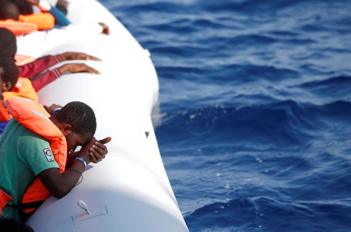 This file photo shows migrants during a rescue operation in the Mediterranea Sea October 20, 2016. (Reuters Photo)
