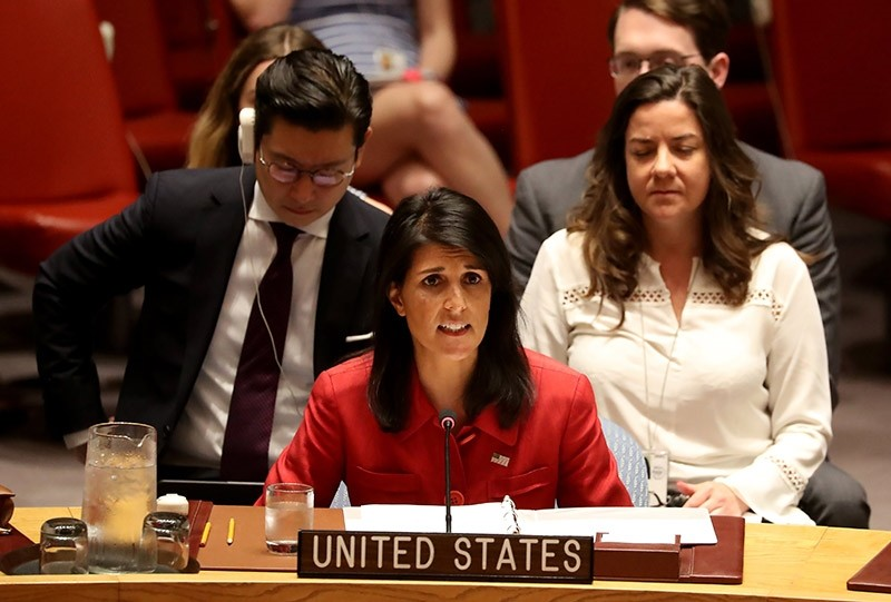 Nikki Haley, US Ambassador to the United Nations,speak with at an emergency Security Council meeting on North Korea (EPA Photo)