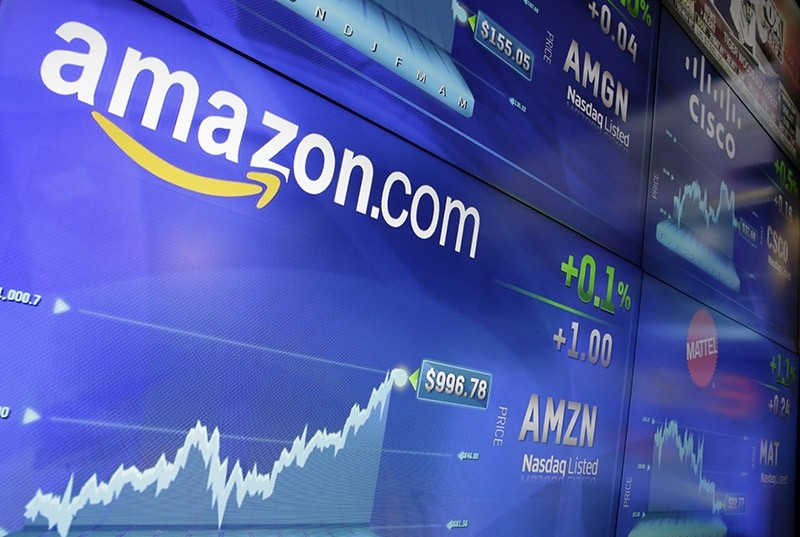 In this Tuesday, May 30, 2017, file photo, the Amazon logo is displayed at the Nasdaq MarketSite, in New York's Times Square. (AP Photo)