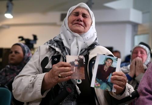Woman reacts to Karadzic verdict, in Memorial Centre Potocari near Srebrenica. (Reuters)