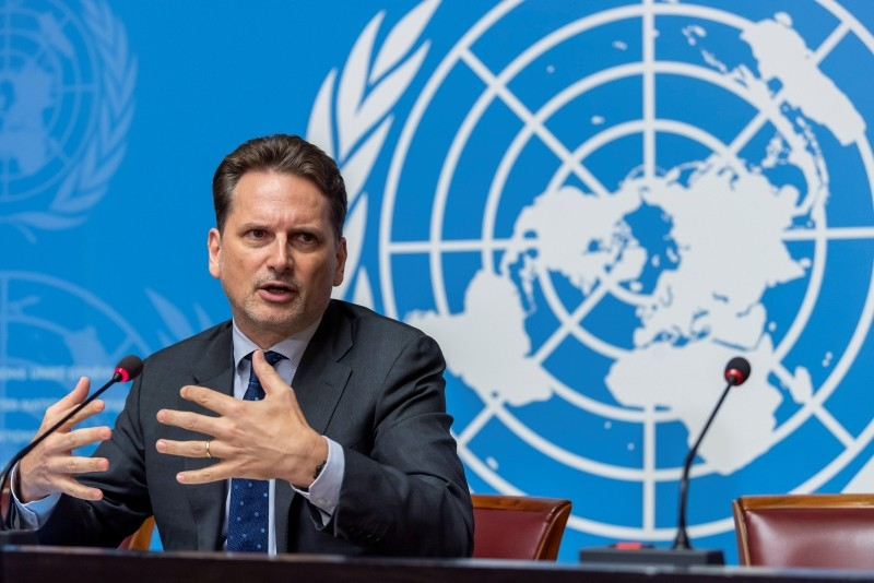 Pierre Kraehenbuehl, UNRWA Commissioner-General, speaks about the UNRWA work, achievements and challenges in 2018 and beyond, during a press conference, at the European headquarters of the UN in Geneva, Switzerland, Nov. 15, 2018. (EPA Photo)