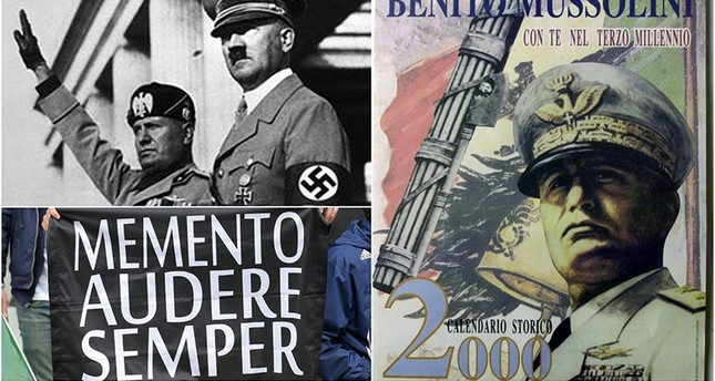 Italian politician Mario De Cristofaro has produced some 2,000 calendars featuring nostalgic photographs (R) of Mussolini framed by rousing Fascist-era slogans. (REUTERS Photo)