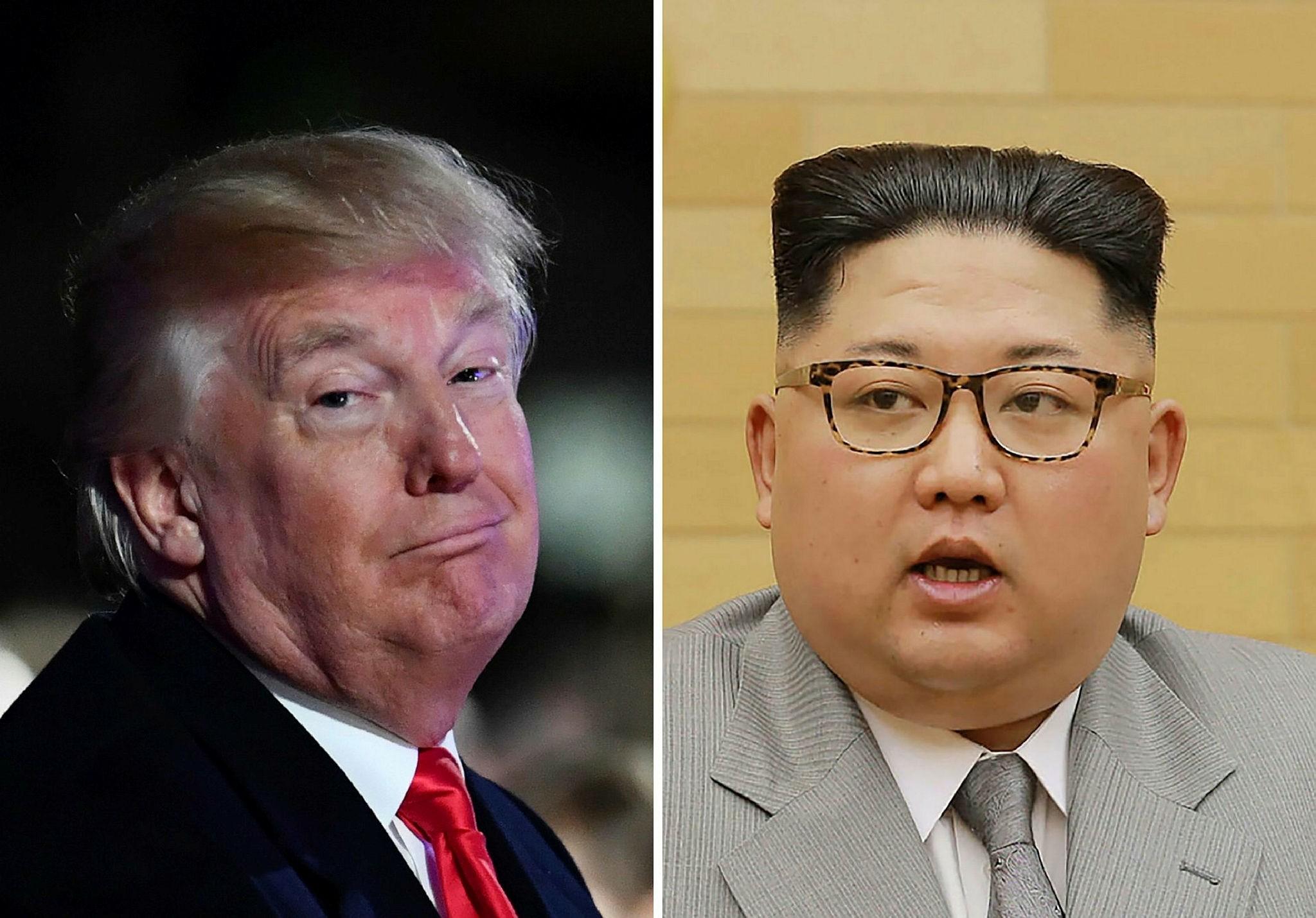 Trump (L) and North Korean Supreme Leader Kim Jong Un