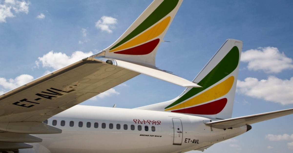 The winglet of an Ethiopian Airlines Boeing 737 Max 8 is seen as it sits grounded at Bole International Airport in Addis Ababa, Ethiopia Saturday, March 23, 2019. (AP Photo)