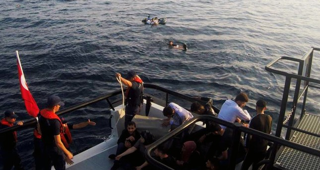 The Turkish Coast Guard rescued 31 illegal migrants from a sinking boat off the coast of Bodrum, June 18, 2019.
