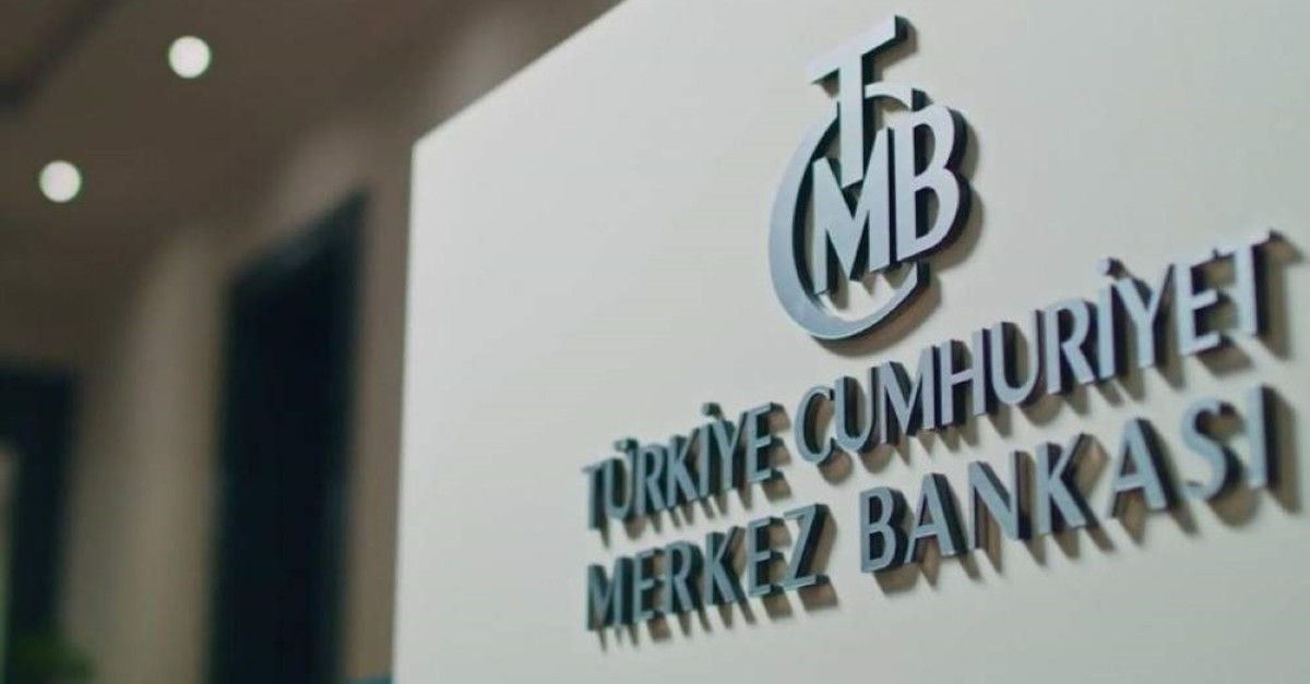 This file photo shows the logo of the Central Bank of Republic of Turkey (CBRT) inside its headquarters.