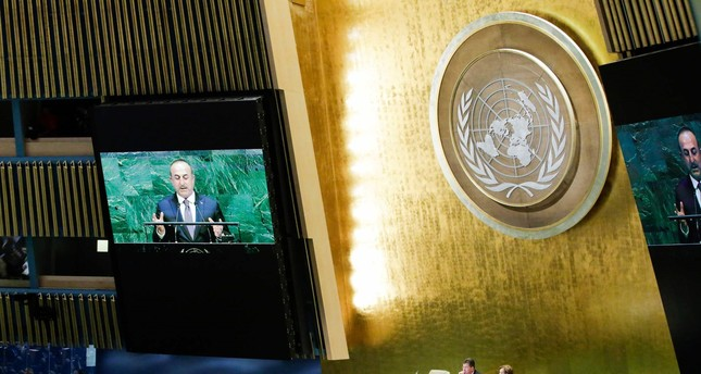 Çavuşoğlu,Turkey's Minister of Foreign Affairs, addresses the General Assembly prior to a vote on Jerusalem, on December 21, 2017, at U.N. Headquarters in New York. (AFP Photo)