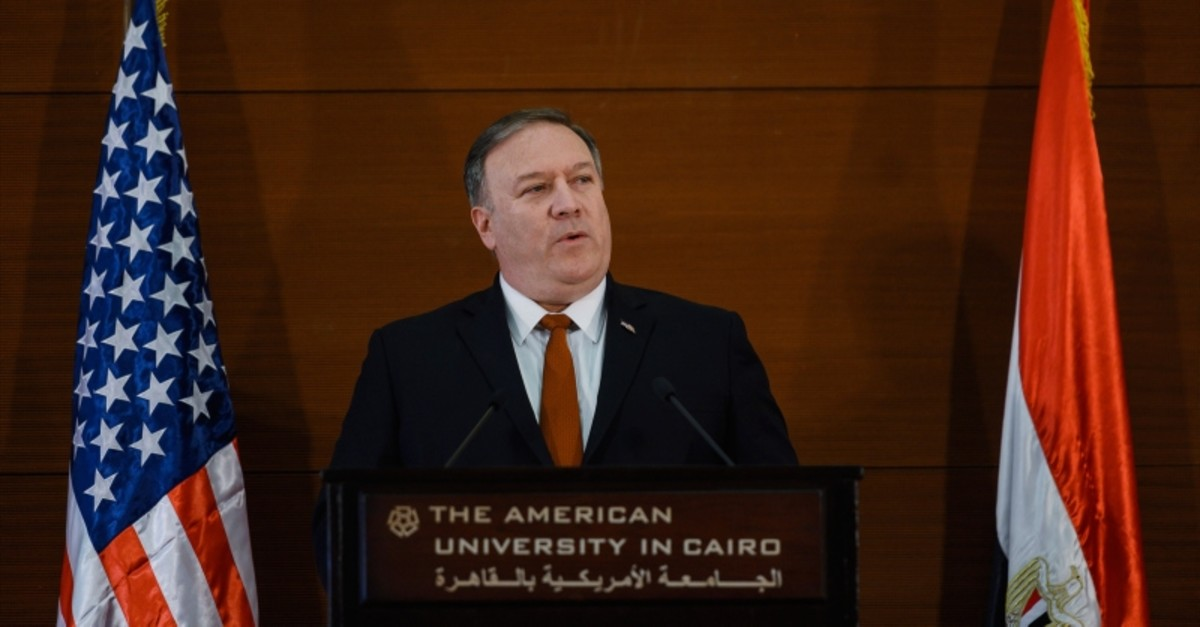 In this Thursday, Jan. 10, 2019 file photo, U.S. Secretary of State Mike Pompeo, speaks to students at the American University Cairo in the eastern suburb of New Cairo, Egypt. (AP Photo)