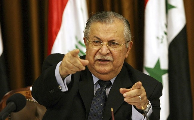 In this Aug 17, 2007 file photo, Iraq's President Jalal Talabani talks to reporters in Baghdad, Iraq. (AP Photo)