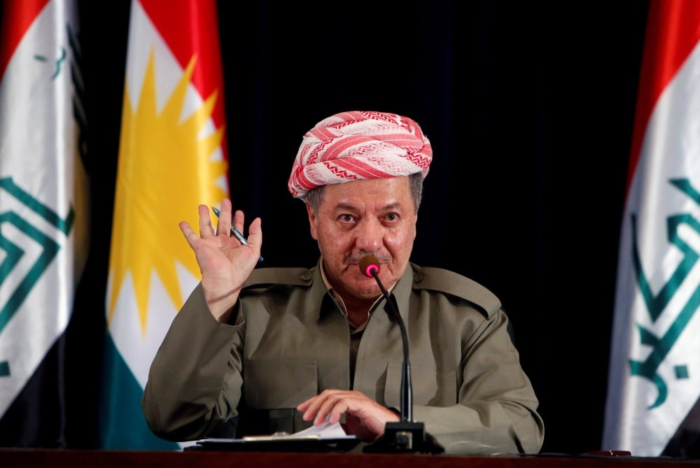 KRG President Masoud Barzani speaks during a news conference in Irbil, Iraq, Sept.24.