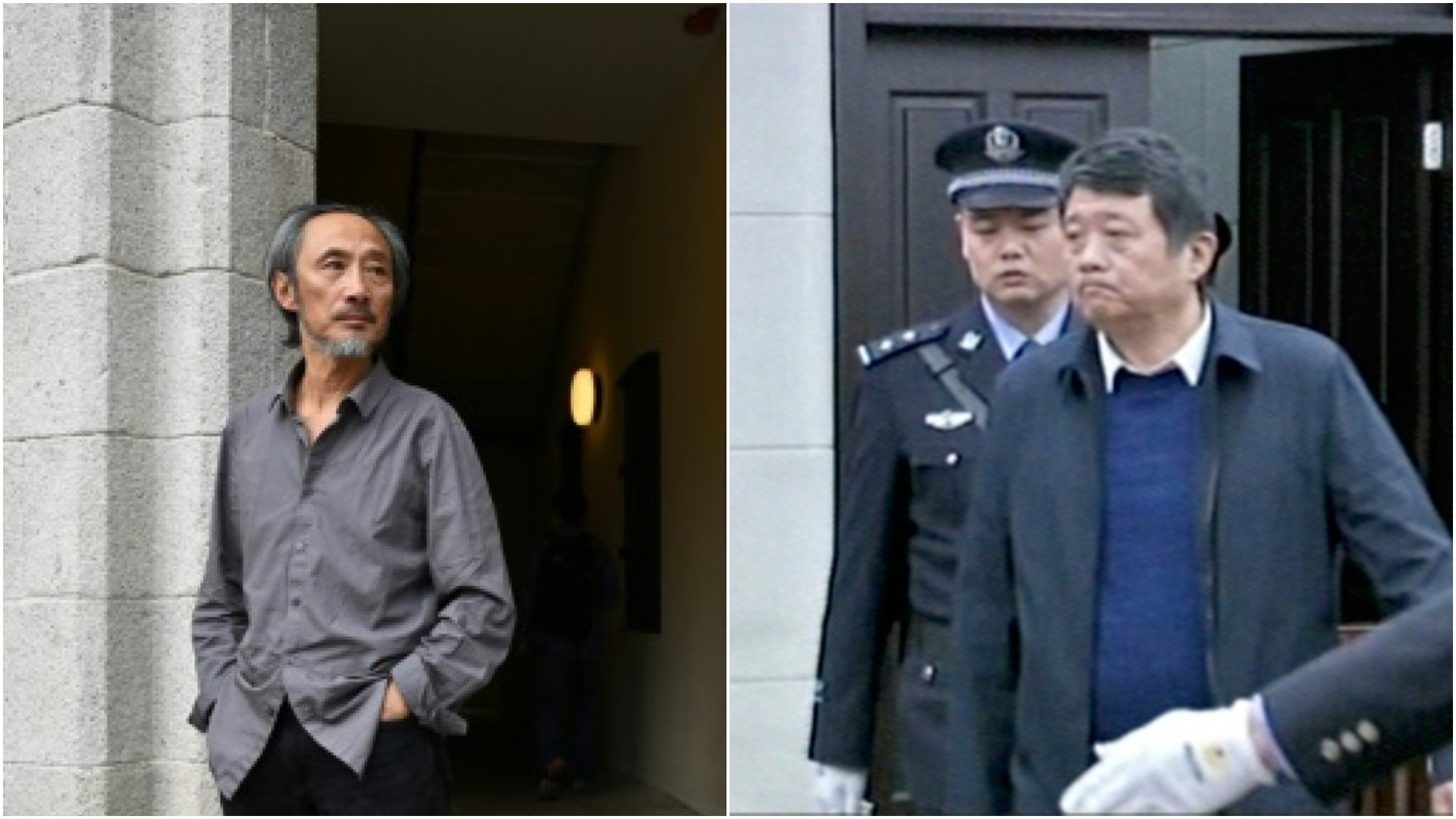 Exiled Chinese author Ma Jian (L) and  China's former deputy intelligence chief Ma Jian in a courtroom in this image made from Dec. 27, 2018 CCTV video. (AFP/AP Photos)