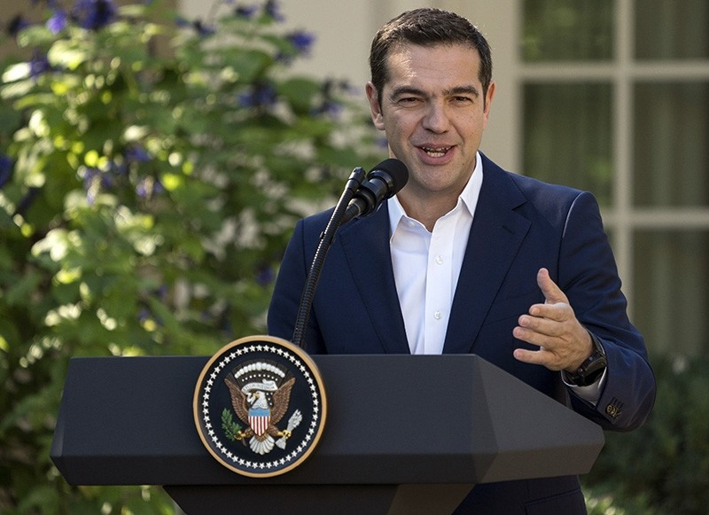 Greek Prime Minister Alexis Tsipras speaks during a news conference with President Donald Trump in the Rose Garden of the White House in Washington, Tuesday, Oct. 17, 2017. (AP Photo)