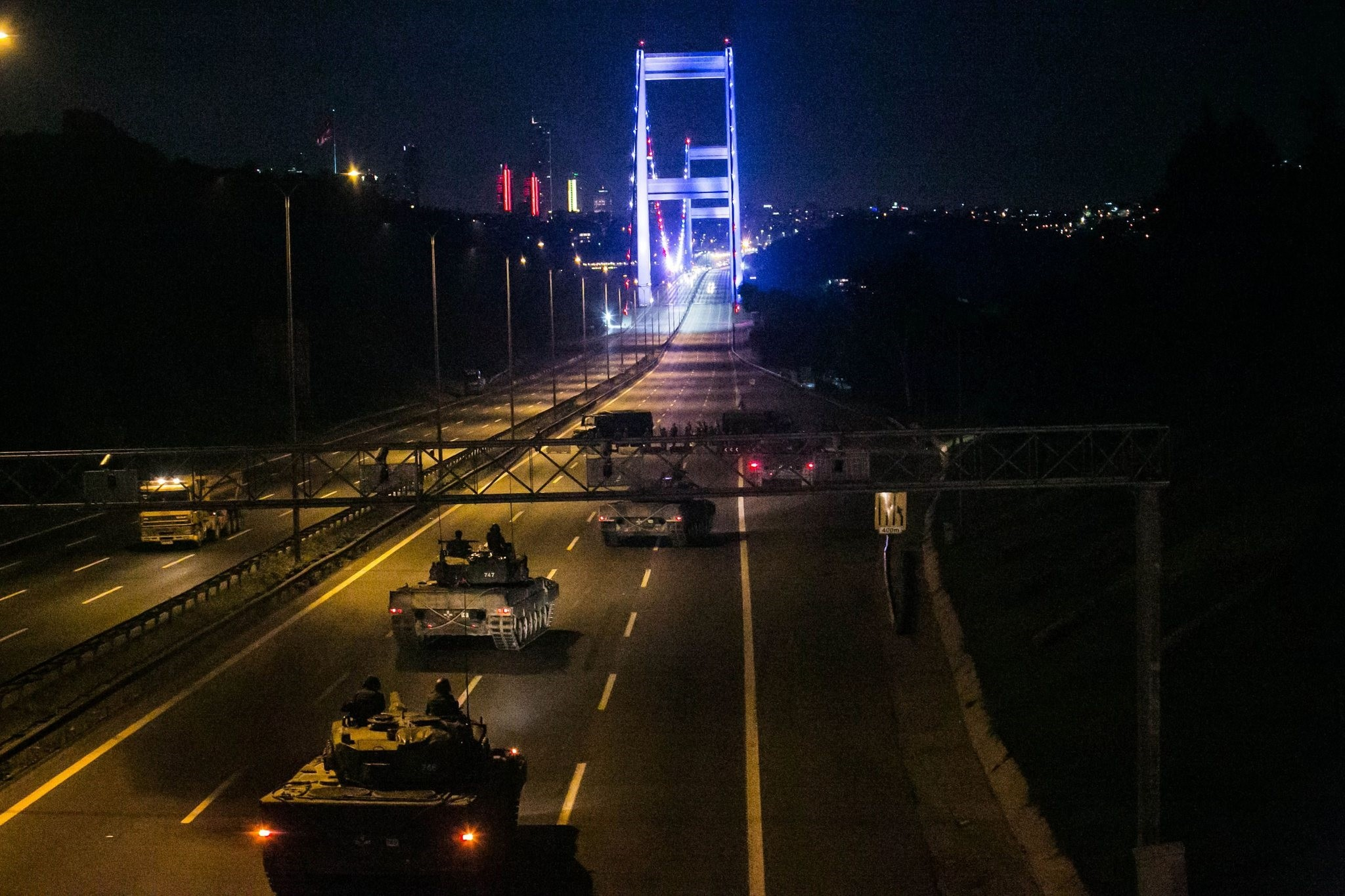 Coup soldiers enter the Fatih Sultan Mehmet Bridge in Istanbul on July 16, 2016.