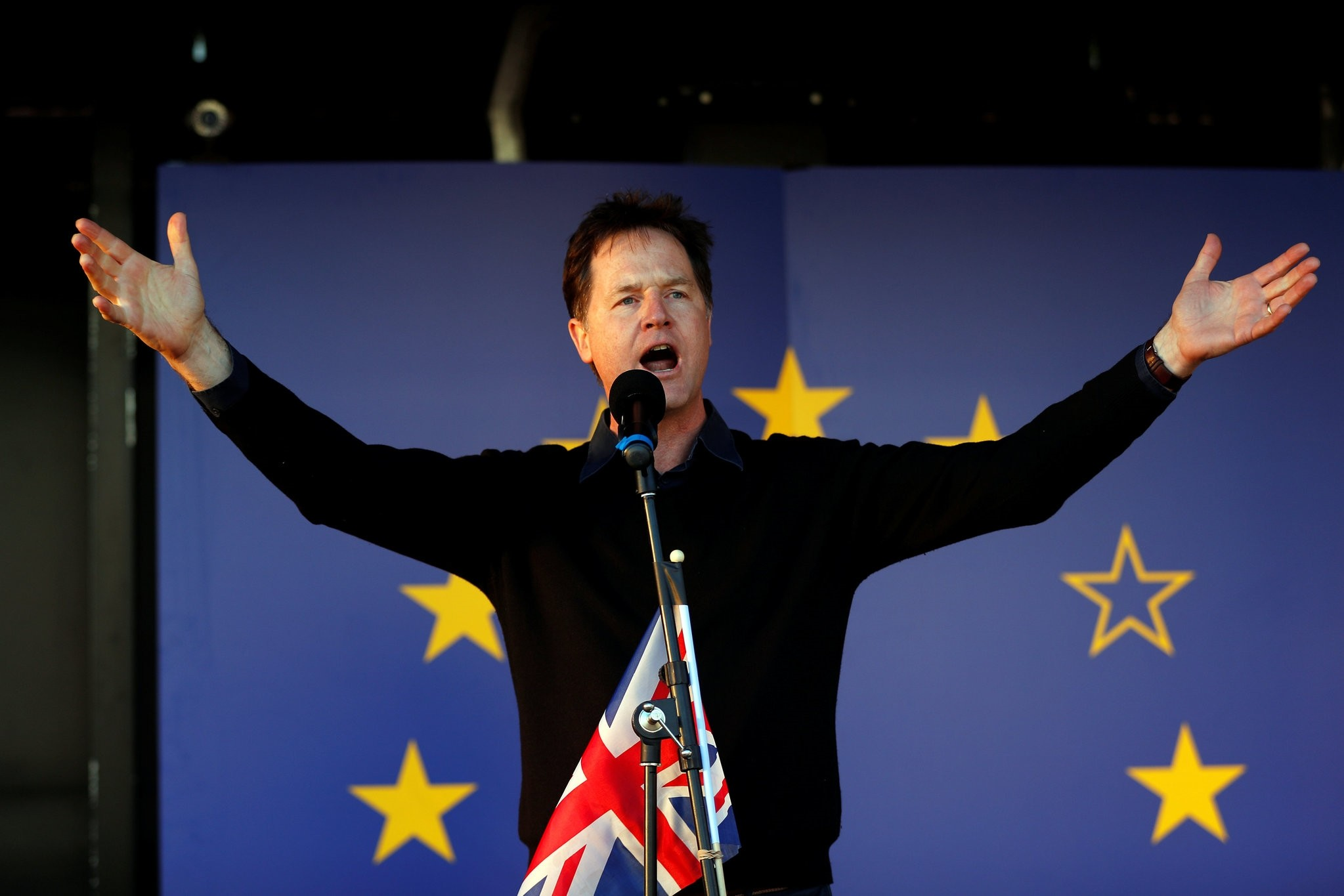 Former Liberal Democrat leader Nick Clegg speaks at a Unite for Europe rally in central London, March 25, 2017.