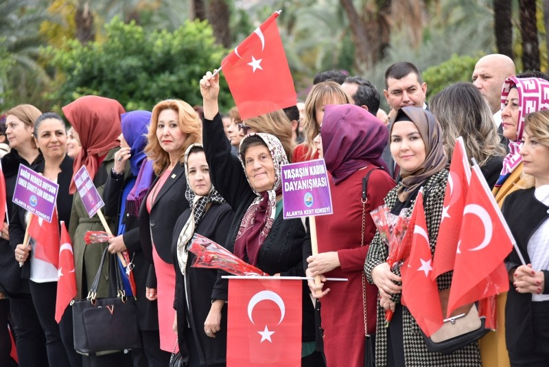People attend to a Women's Rights Day event in Alanya district, in southern Turkey, on Dec. 5, 2018. (DHA Photo)