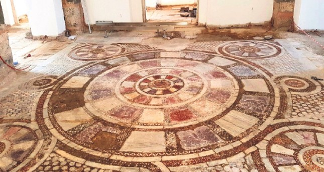 Mosaics on mosque floor revealed