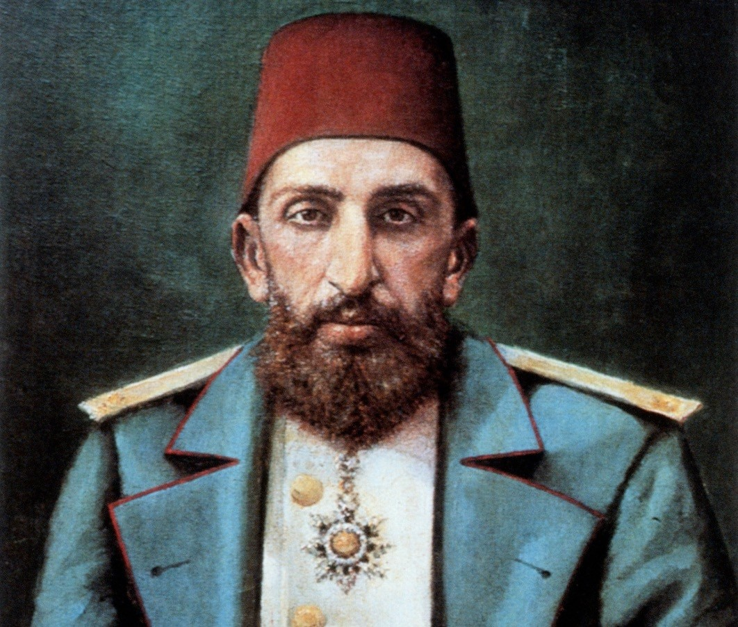 An oil painting of Abdu00fclhamid II displayed in Topkapu0131 Palaceu2019s portraits gallery.