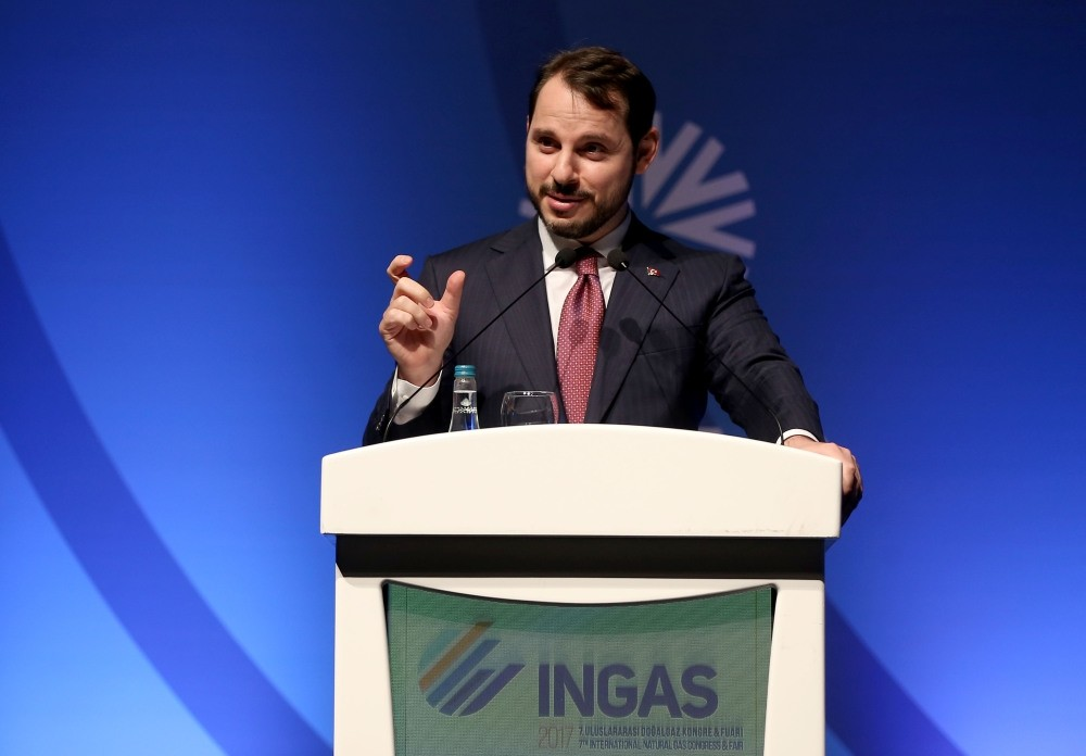 Energy and Natural Resources Minister Albayrak delivers a speech on Turkey's energy policy and goals at the 7th International Natural Gas Congress and Fair (INGAS) in Istanbul, Nov. 2.