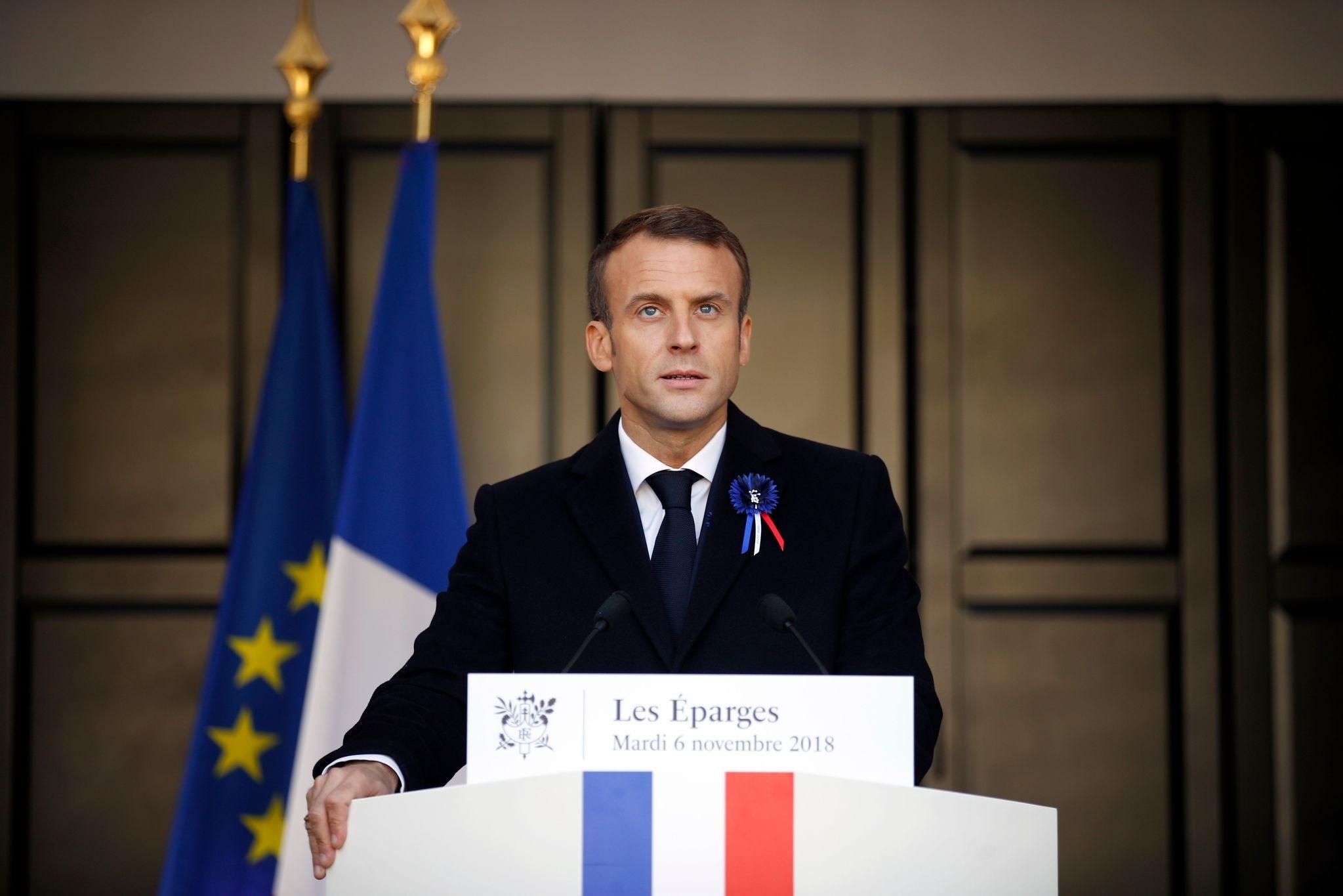 French president Emmanuel Macron delivers a speech, Les Eparges, Nov. 6.