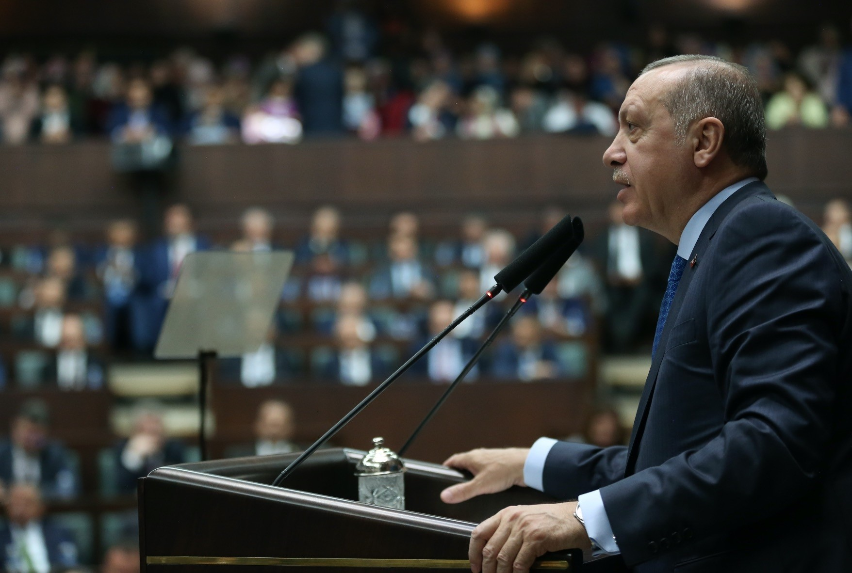 President Recep Tayyip Erdou011fan delivers a speech during the AK Partyu2019s parliamentary group meeting at Parliament, April 10.