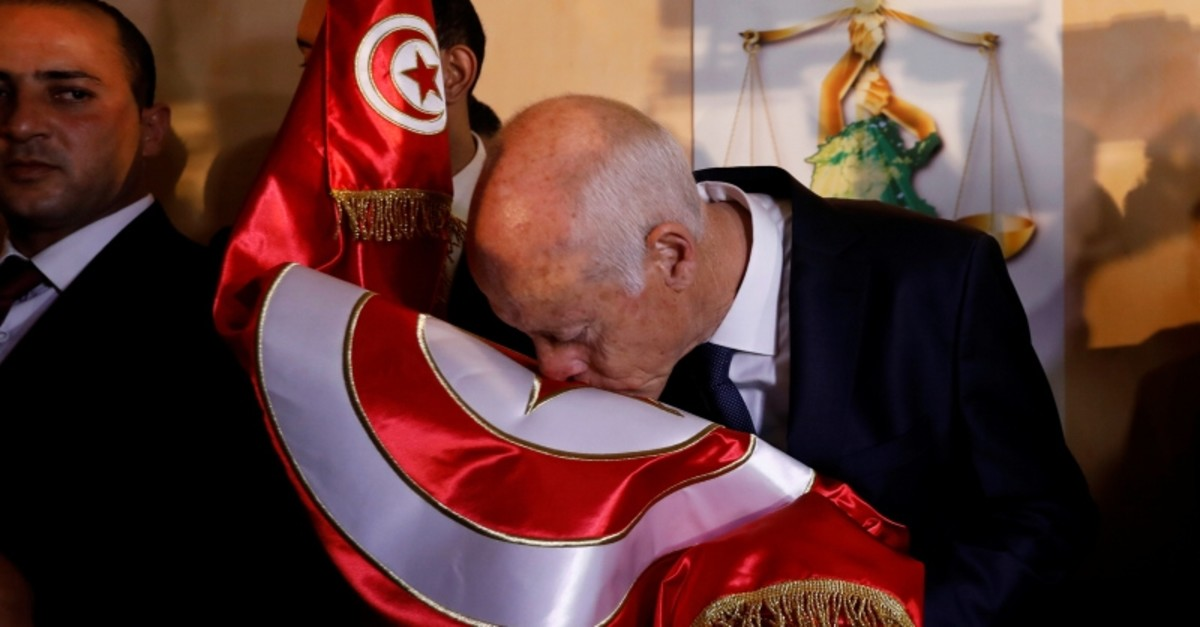 Tunisian presidential candidate Kais Saied celebrates his victory in the Tunisian presidential election in the capital Tunis, Tunisia, Oct. 13, 2019. (Reuters Photo)
