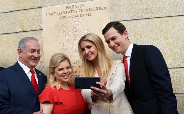 Israeli Prime Minister Benjamin Netanyahu with his wife Sara and the daughter and the son-in-law of the U.S. president, Ivanka Trump and Jared Kushner, take a selfie during the opening of the U.S. Embassy in Jerusalem.